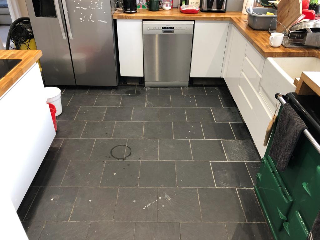 Kitchen Slate Floor Tiles Before Renovation