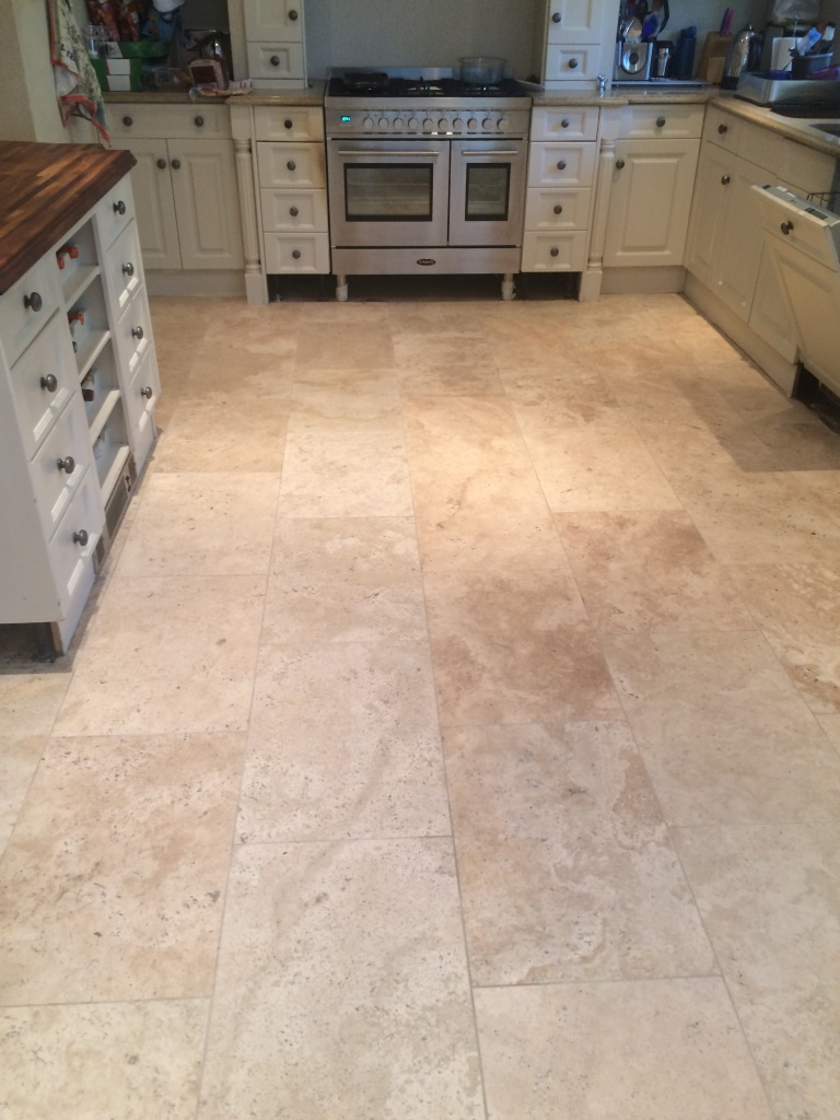 Limestone Tiled Kitchen Floor After Cleaning and Sealing