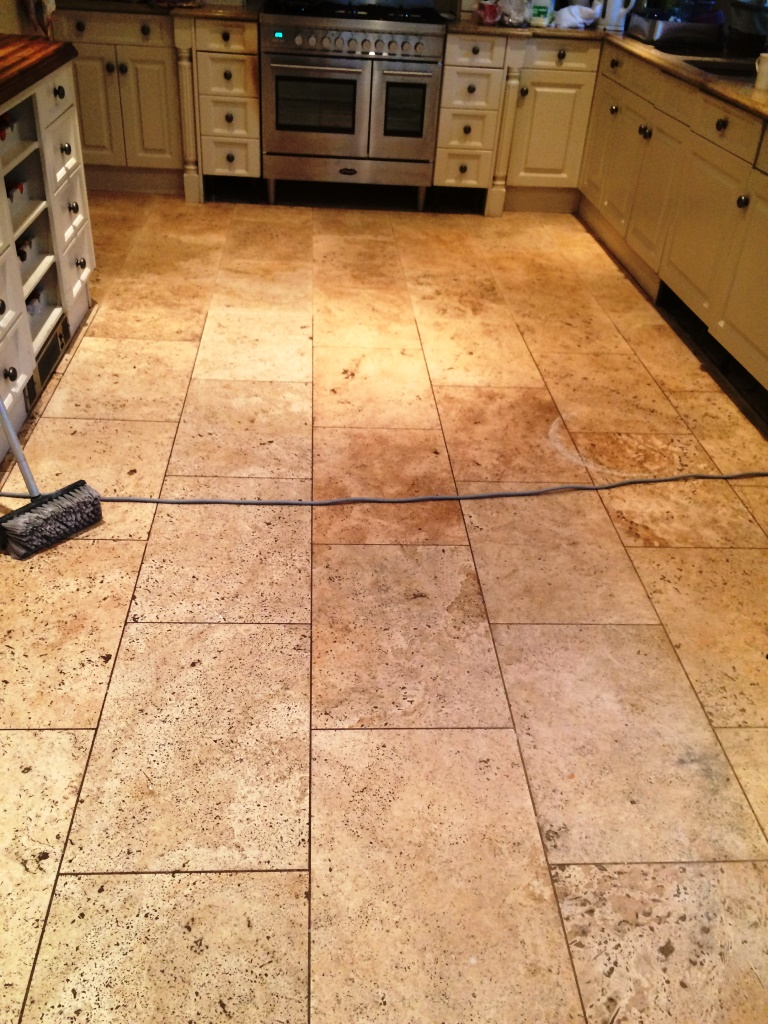 Limestone Tiled Kitchen Floor Before Cleaning