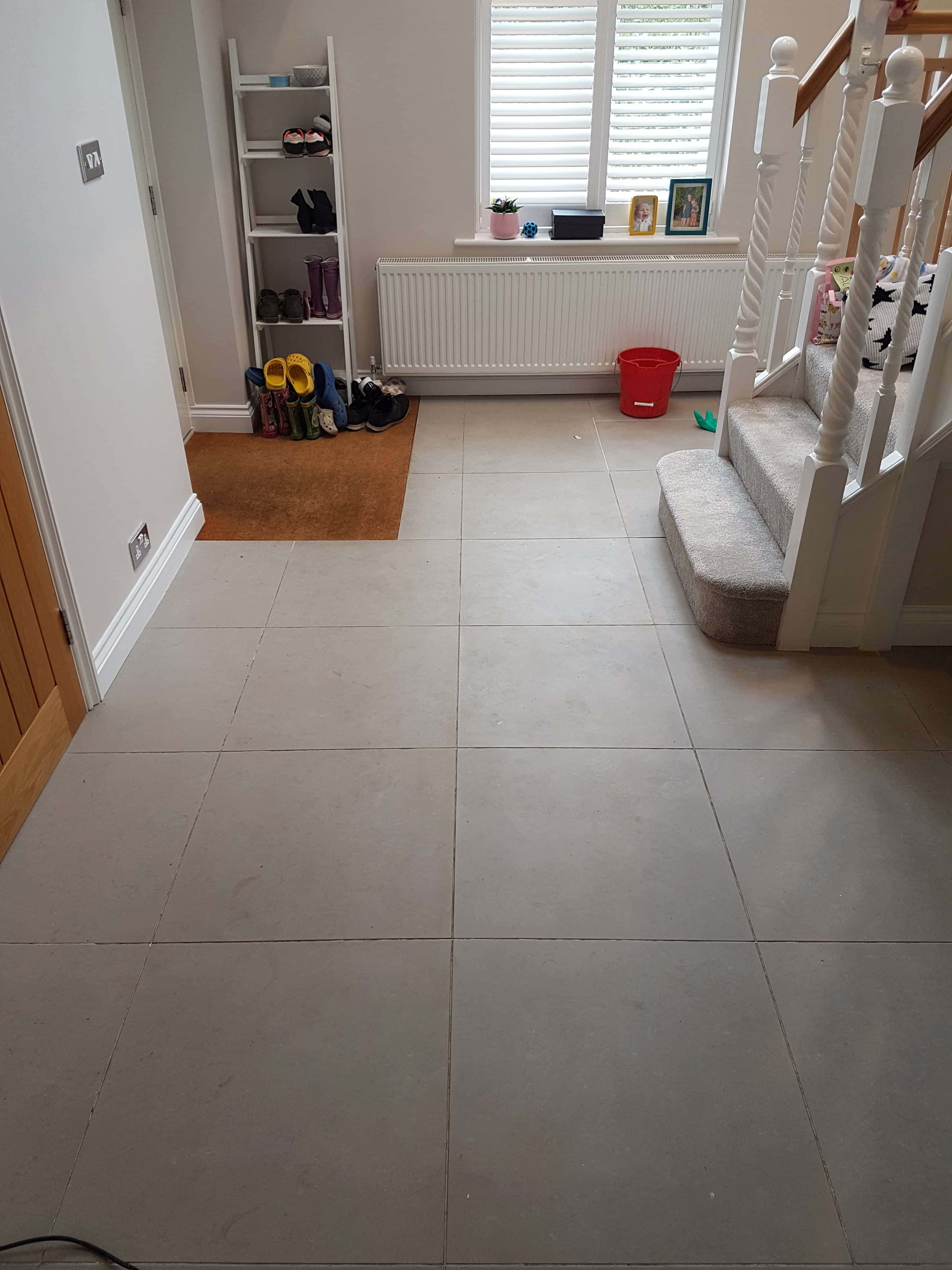 Porcelain Tile and Grout Before Cleaning