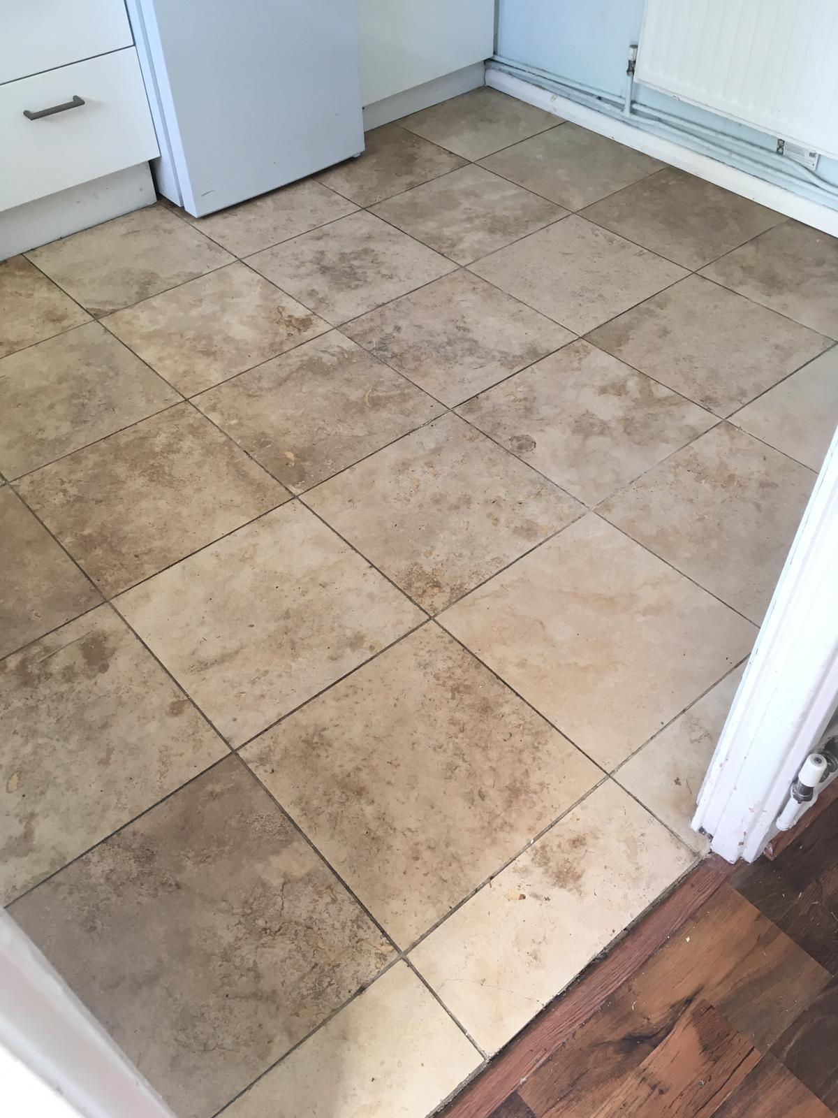 Dirty Travertine Floor Before Renovation Mile End East London