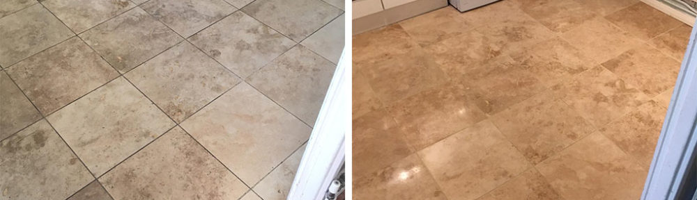Renovation of Travertine Floor in Mile End Rental Property