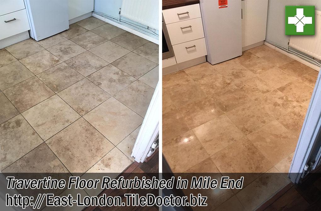 Travertine Tiled Floor Before After Refurb Mile End