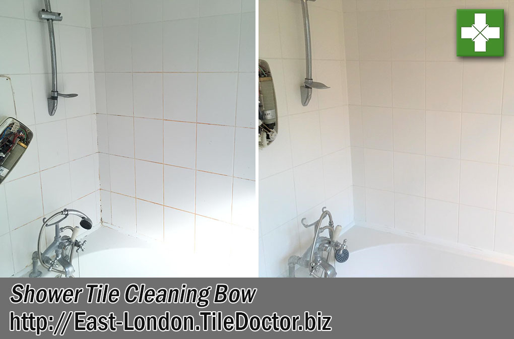 Bathroom Ceramic Tile Grout Before After Cleaning Bow