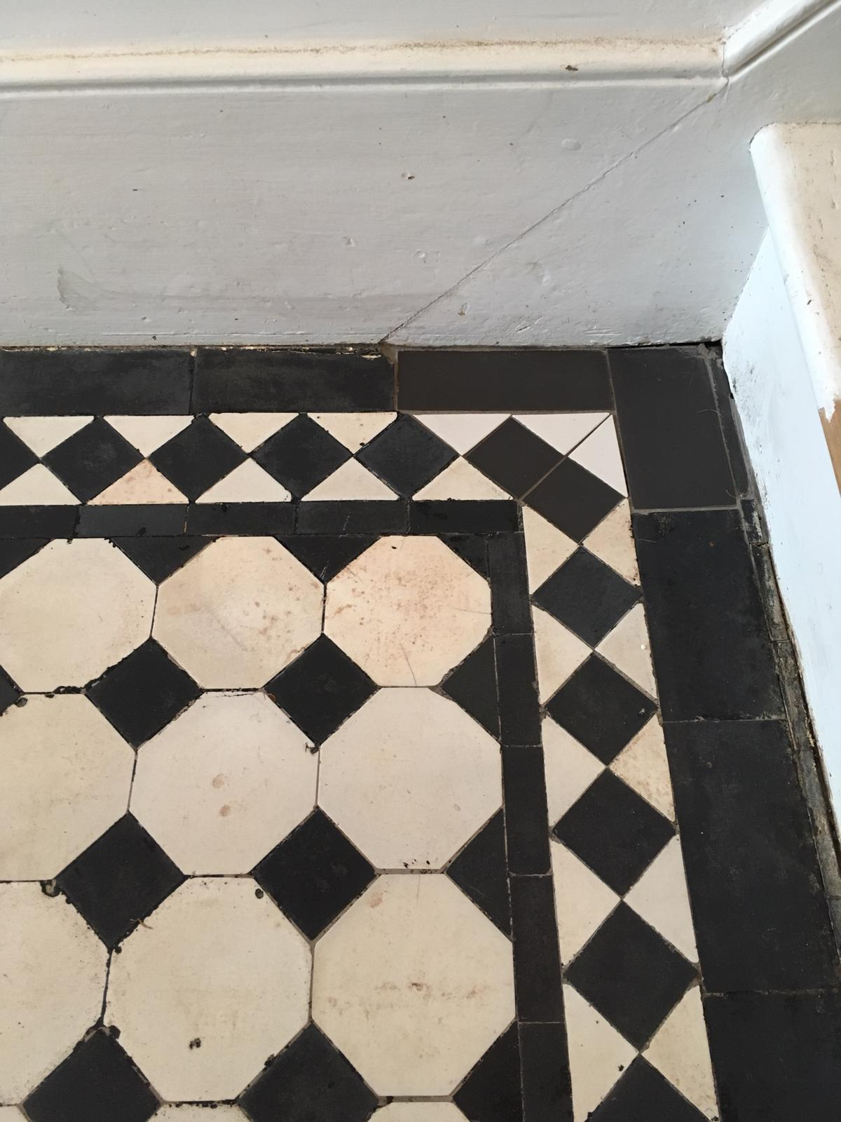 Edwardian Floor Covered in Bitumen After Restoration in Leyton E10