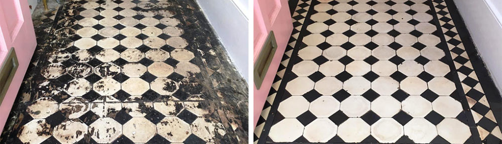 Restoration of a Bitumen Stained Edwardian Tiled Hallway in Leyton E10