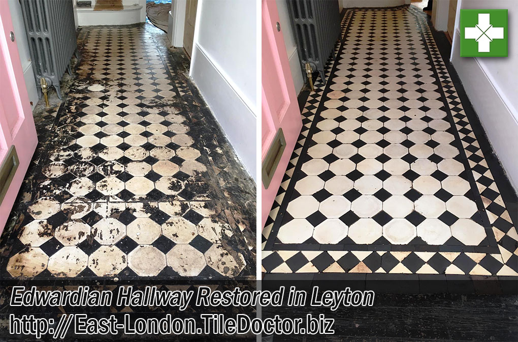 Edwardian Floor Covered in Bitumen Before and After Restoration in Leyton E10
