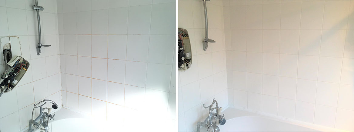 Ceramic Tiled Shower Bath Tiles Before After Cleaning Bow