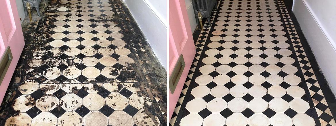 Edwardian Floor Covered in Bitumen Before After Restoration in Leyton