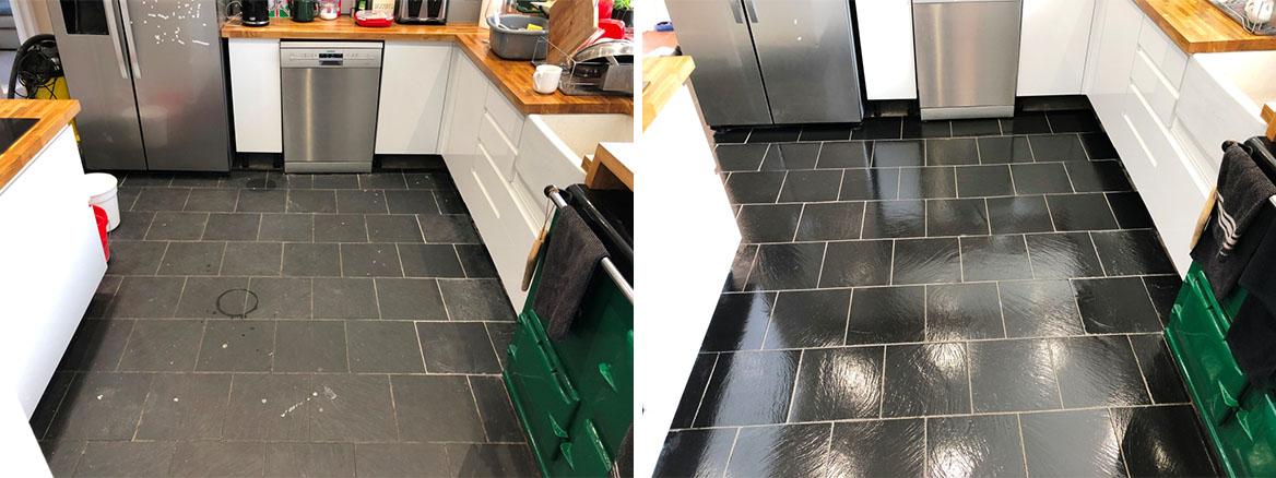 Kitchen Slate Floor Tiles Before After Renovation