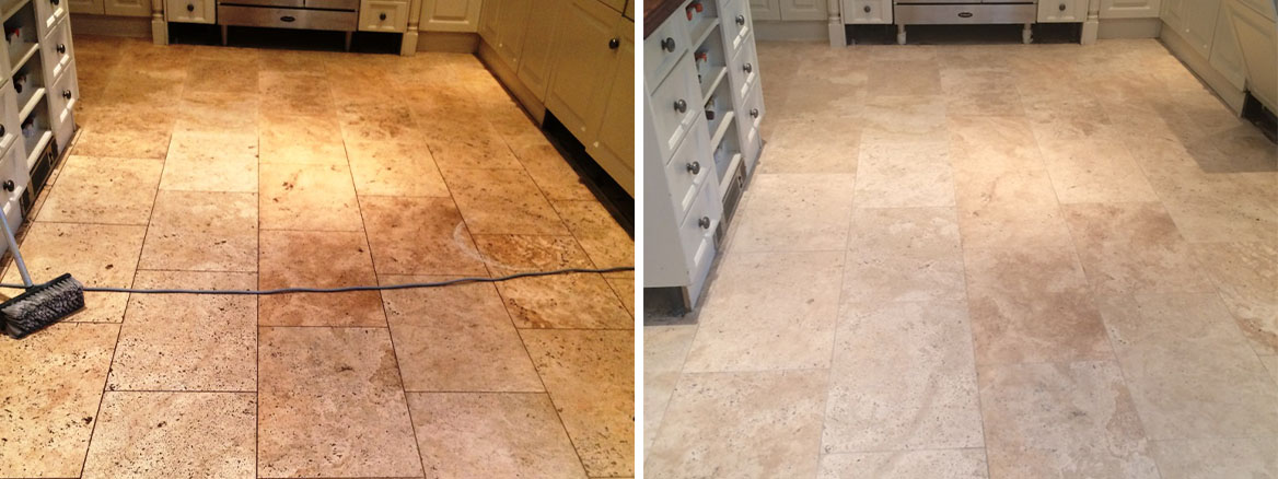 Limestone Tiled Kitchen Floor Before After Cleaning and Sealing