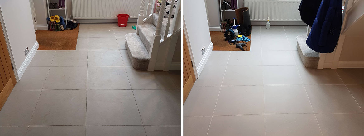 Porcelain Tile and Grout Before After Cleaning
