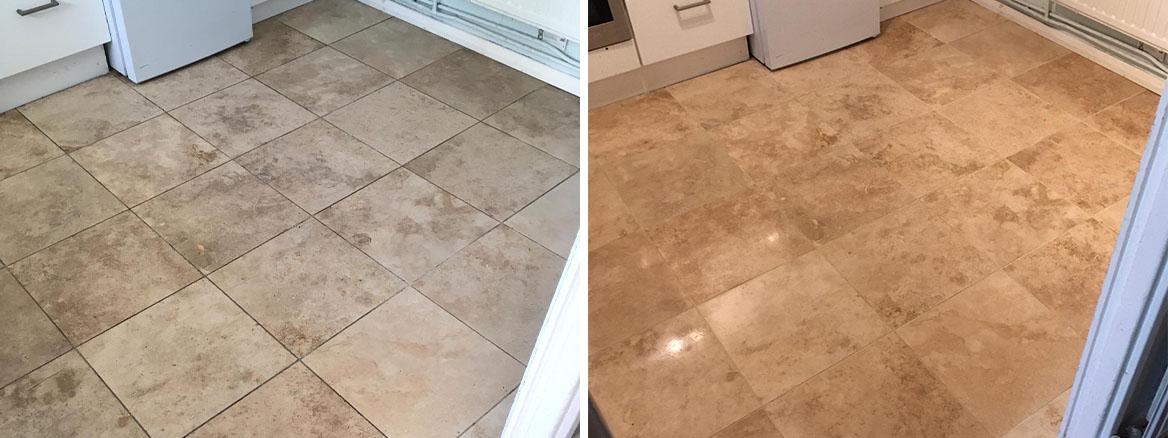 Travertine Kitchen Floor Before After Renovation Mile End East London