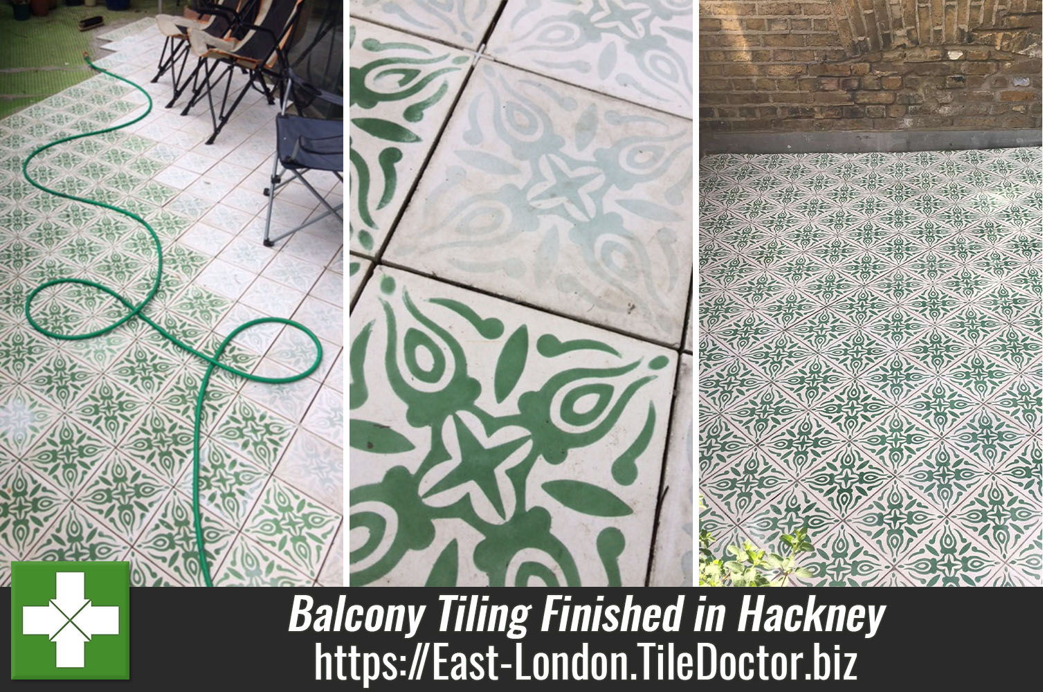 Balcony Tiled with Encaustic Cement Tiles in Hackney