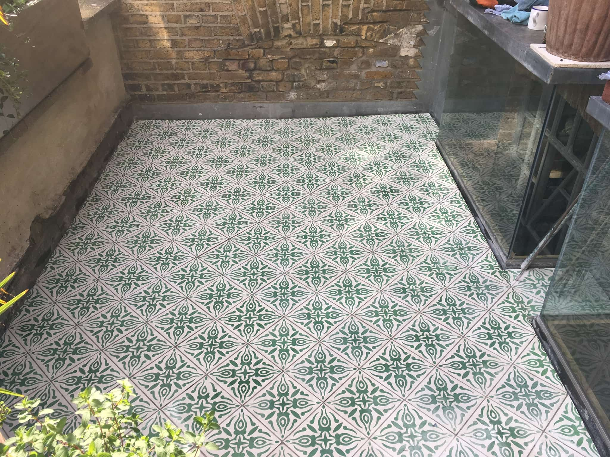 Encaustic Cement Balcony Tiling Project in Hackney After