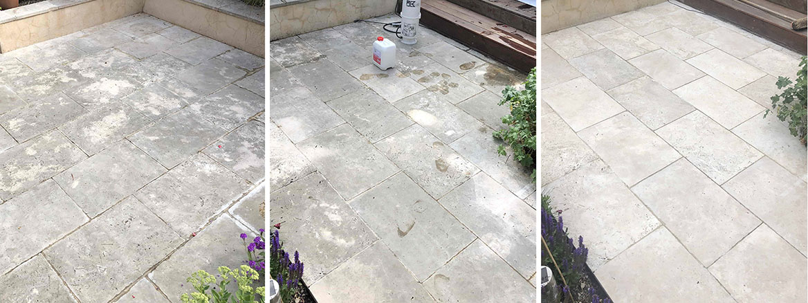 Travertine Patio Deep Cleaned and Sealed in Hackney E5
